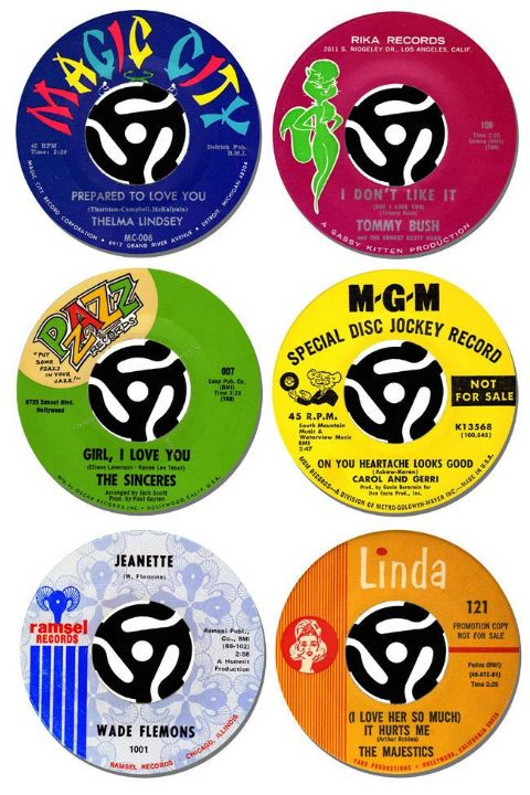 Northern Soul Record Label Coasters Set Of 6. Collectors Rarities Drink Coaster